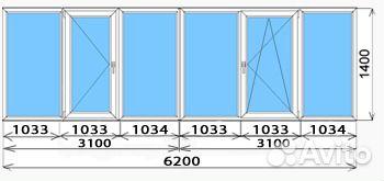Конфигурация застекления 6 метрового балкона.