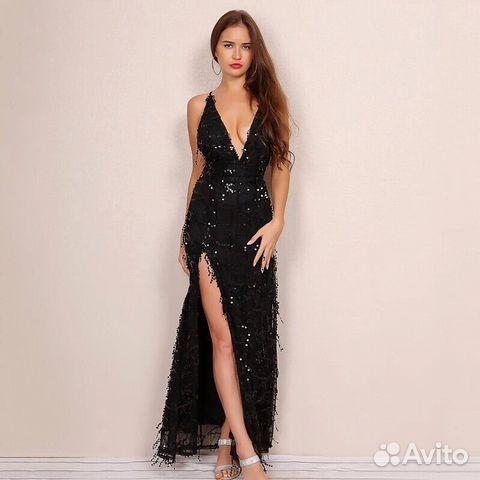 d15a82c6d6c68a3 Черное вечернее платье длинное с разрезом в пайетк купить в Москве ...