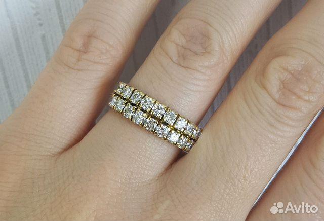 Золотое кольцо с бриллиантами (1.26 карат) купить в Москве на Avito ... a9293a6ebe3