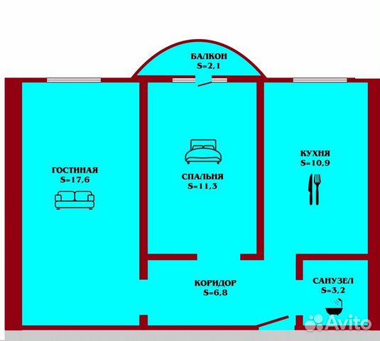 2-к квартира, 49 м², 1/3 эт.  купить 4