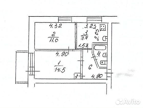 2-к квартира, 42 м², 2/5 эт. 89128630093 купить 10