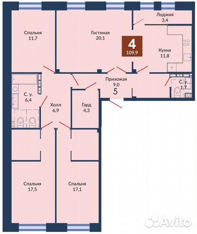 4-к квартира, 110.4 м², 2/11 эт.