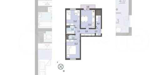 2-к квартира, 66.2 м², 23/27 эт. в Свердловской области | Покупка и аренда квартир | Авито