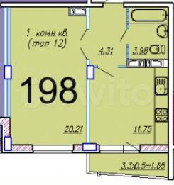 1-к квартира, 38.9 м², 9/16 эт.  89184930331 купить 2