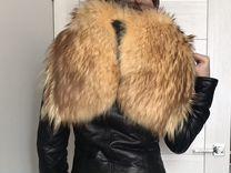 Куртка кожаная с меховым капюшоном S — Одежда, обувь, аксессуары в Санкт-Петербурге